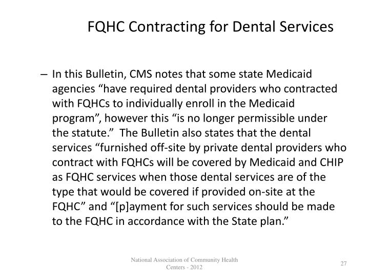 FQHC Contracting for Dental Services