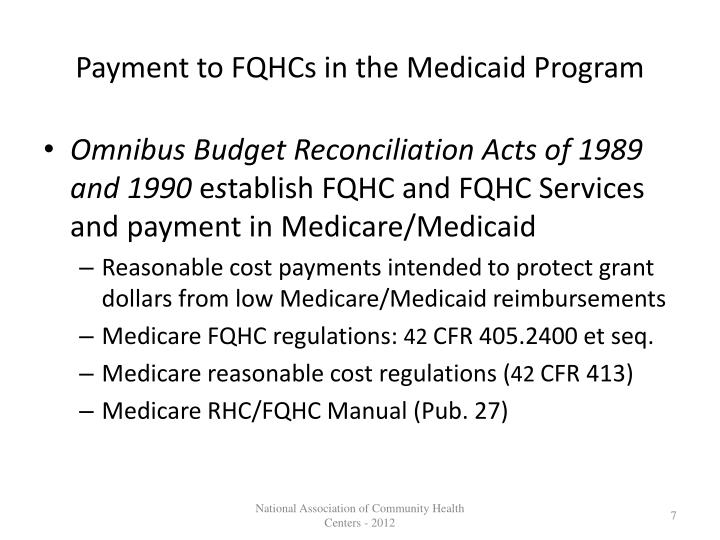 Payment to FQHCs in the Medicaid Program