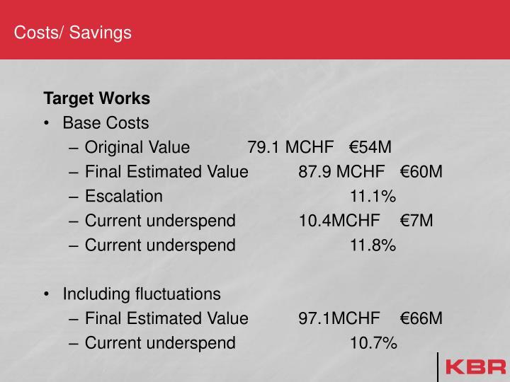 Costs/ Savings