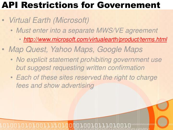 API Restrictions for Governement