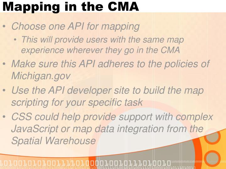 Mapping in the CMA