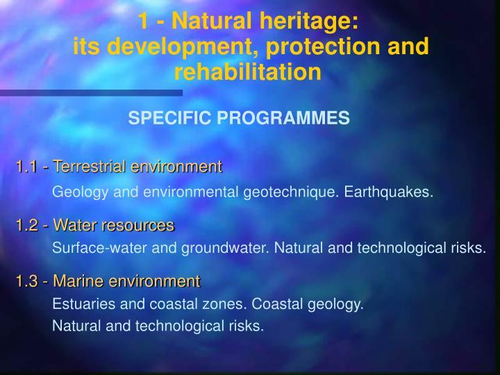1 - Natural heritage: