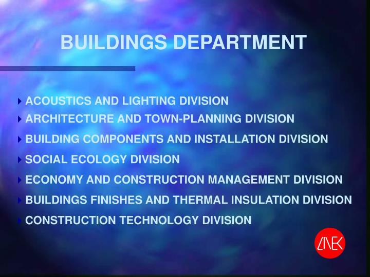 BUILDINGS DEPARTMENT