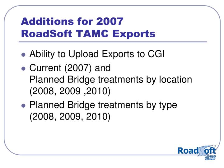 Additions for 2007