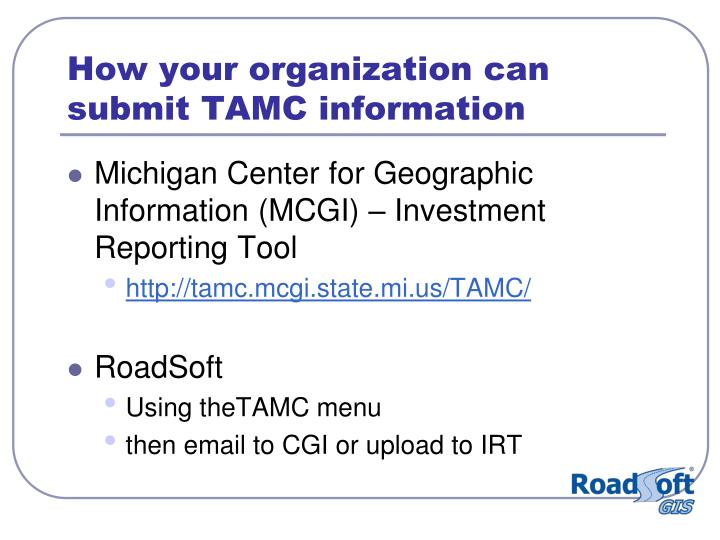 How your organization can submit TAMC information