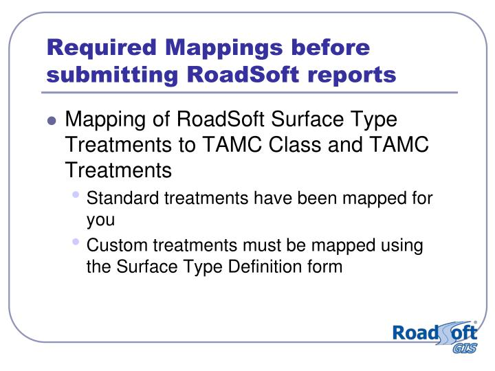 Required Mappings before submitting RoadSoft reports