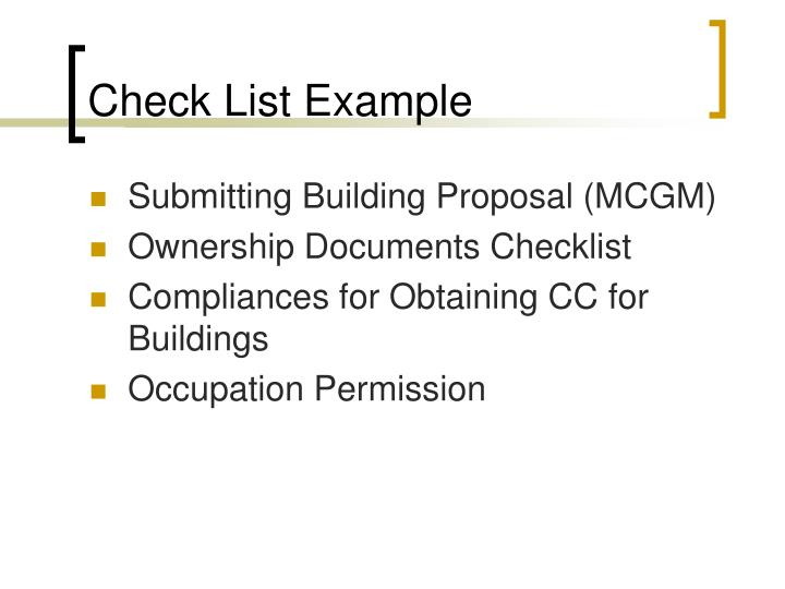 Check List Example