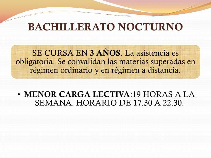 BACHILLERATO NOCTURNO