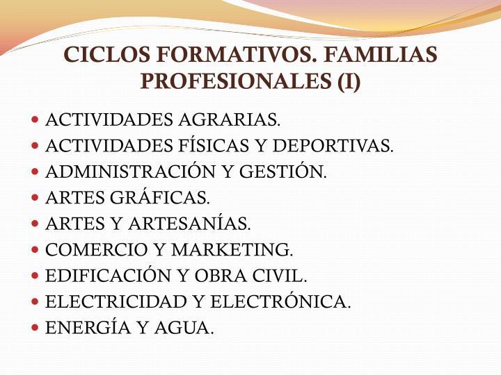 CICLOS FORMATIVOS. FAMILIAS PROFESIONALES (I)