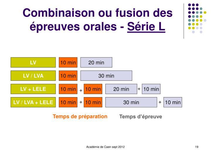 Combinaison ou fusion des épreuves orales -