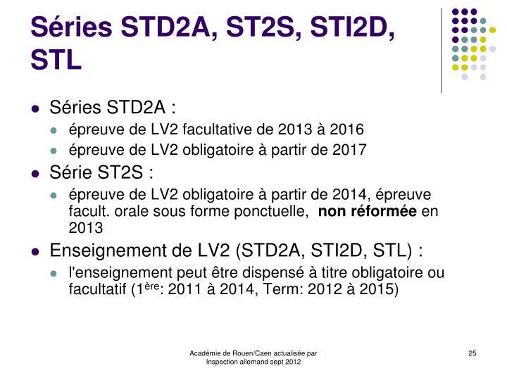 Séries STD2A, ST2S, STI2D, STL