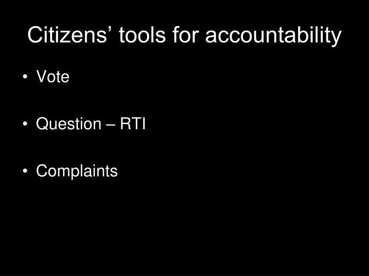 Citizens' tools for accountability