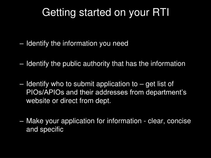 Getting started on your RTI