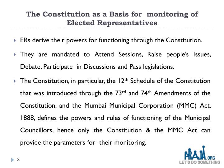 The Constitution as a Basis for  monitoring of Elected Representatives