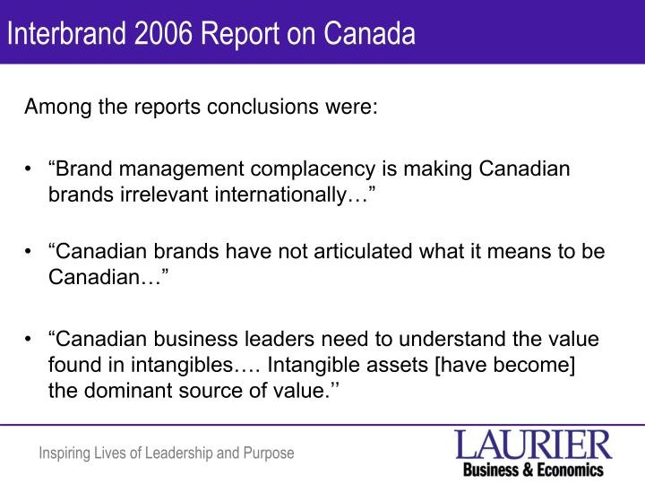Interbrand 2006 Report on Canada