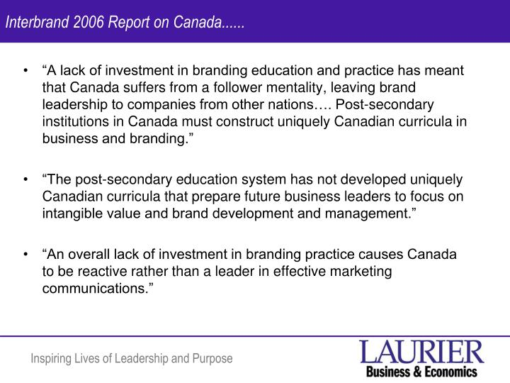 Interbrand 2006 Report on Canada......