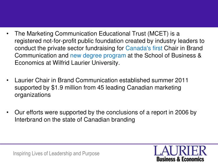 The Marketing Communication Educational Trust (MCET) is a registered not-for-profit public foundatio...