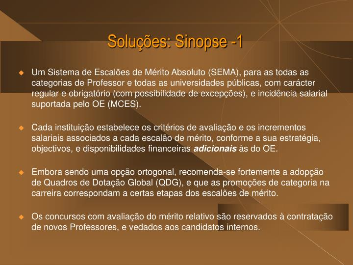 Soluções: Sinopse -1