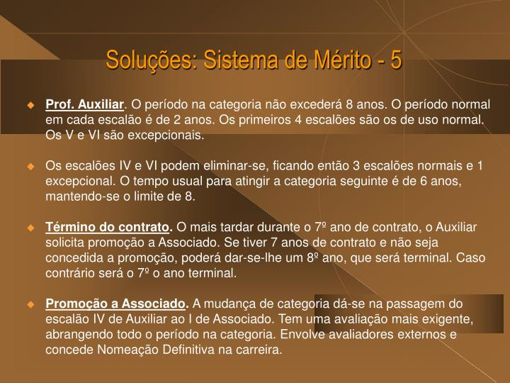Soluções: Sistema de Mérito - 5