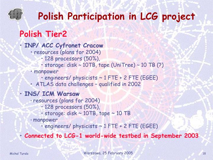 Polish Participation in LCG project