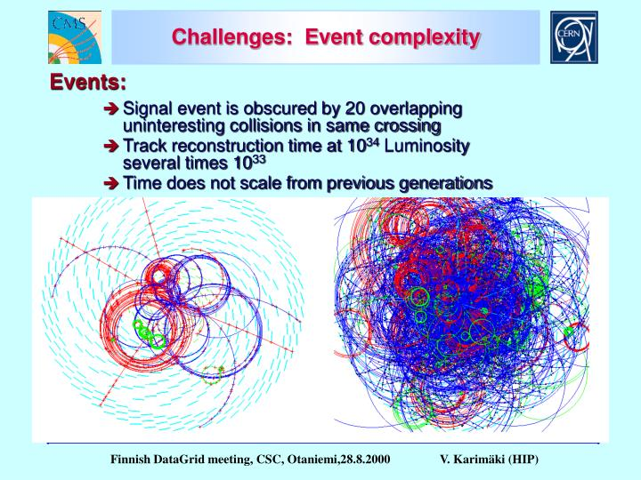 Challenges:  Event complexity