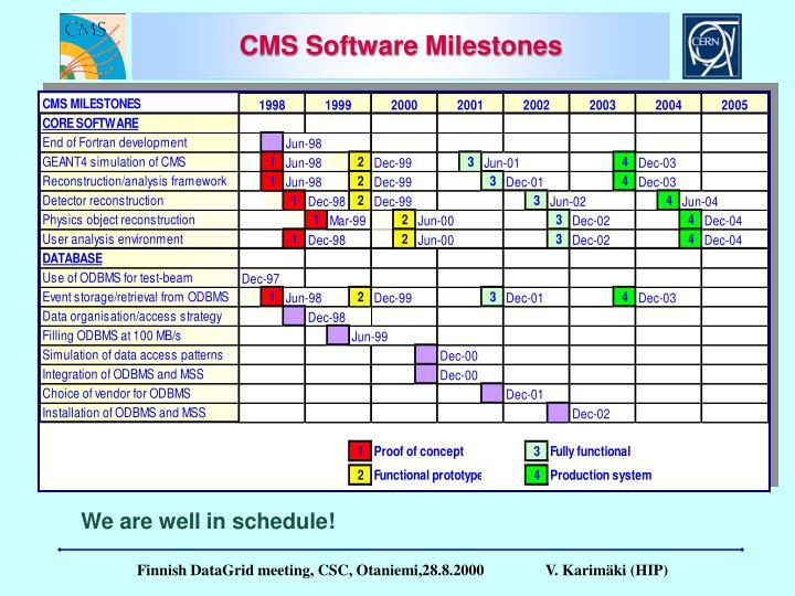 CMS Software Milestones