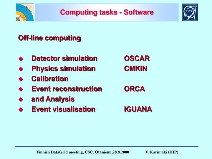 Computing tasks - Software