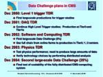 data challenge plans in cms
