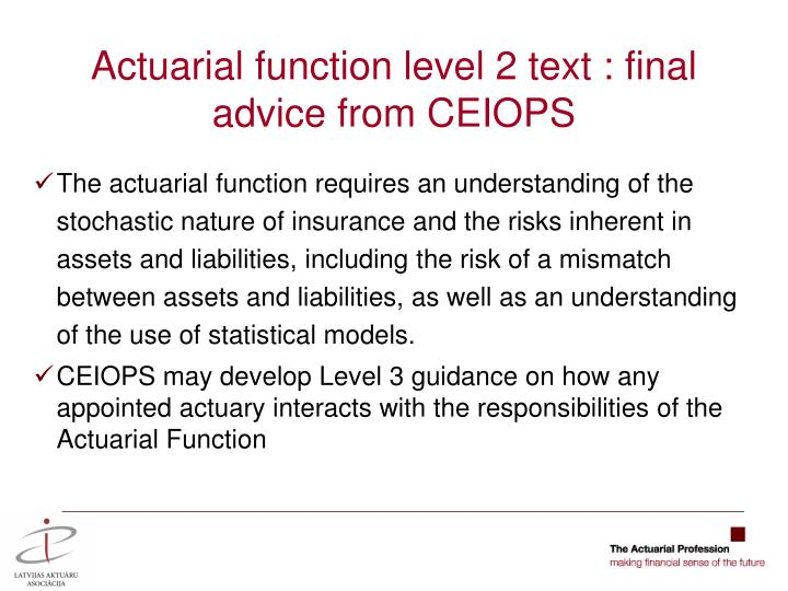 Actuarial function level 2 text : final advice from CEIOPS