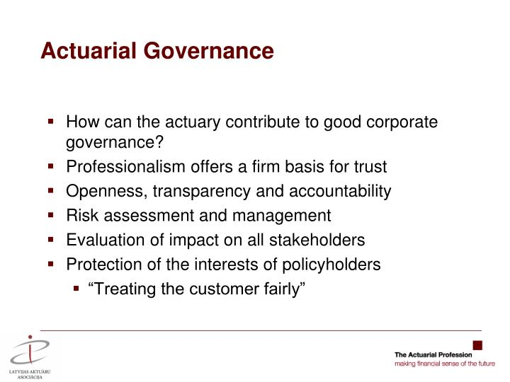 Actuarial Governance