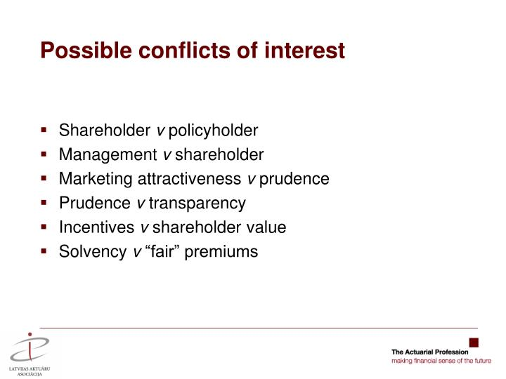 Possible conflicts of interest