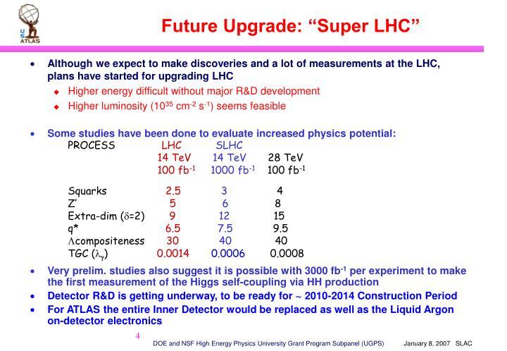 """Future Upgrade: """"Super LHC"""""""