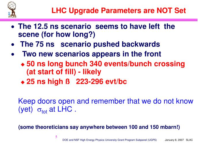 LHC Upgrade Parameters are NOT Set