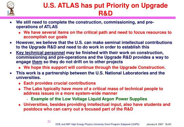 U.S. ATLAS has put Priority on Upgrade R&D