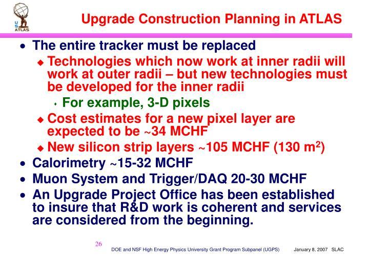 Upgrade Construction Planning in ATLAS