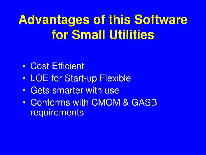 Advantages of this Software for Small Utilities