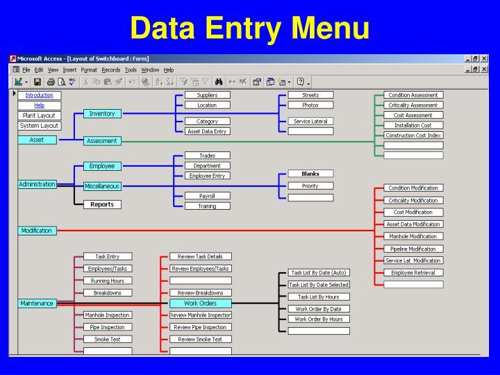 Data Entry Menu