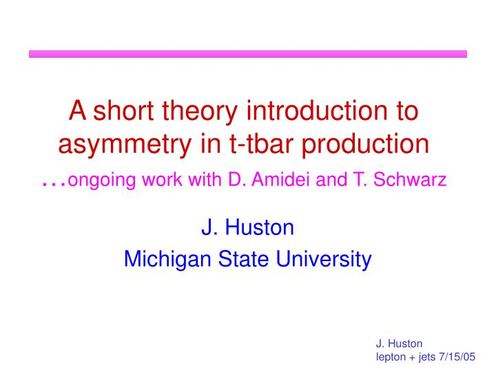 A short theory introduction to asymmetry in t-tbar production