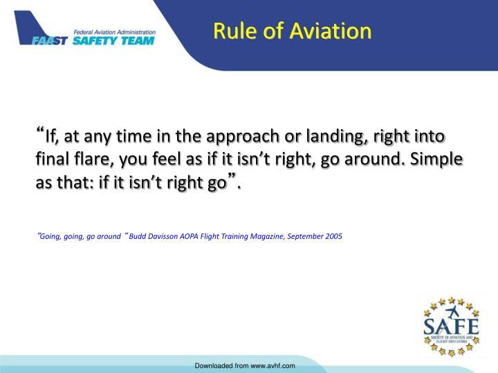 Rule of Aviation
