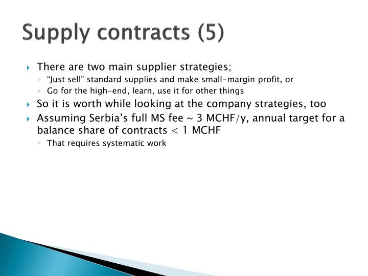 Supply contracts (5)