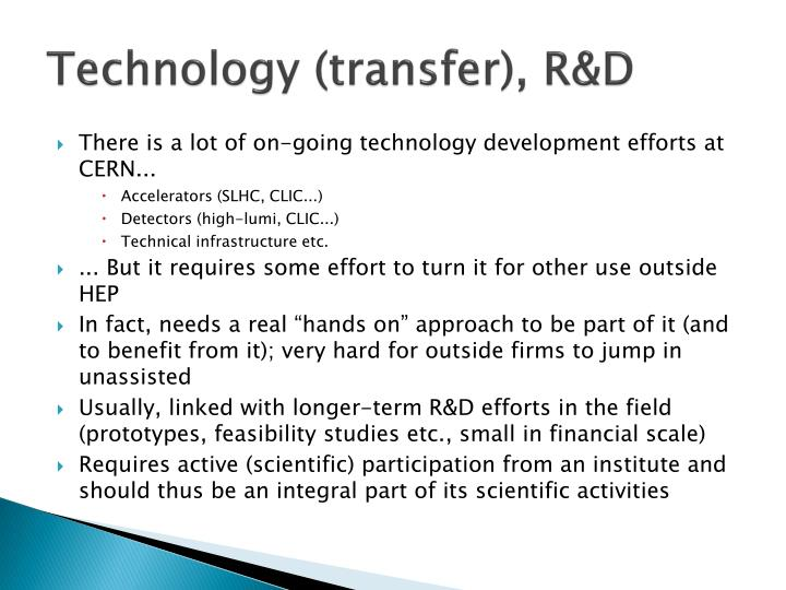 Technology (transfer), R&D
