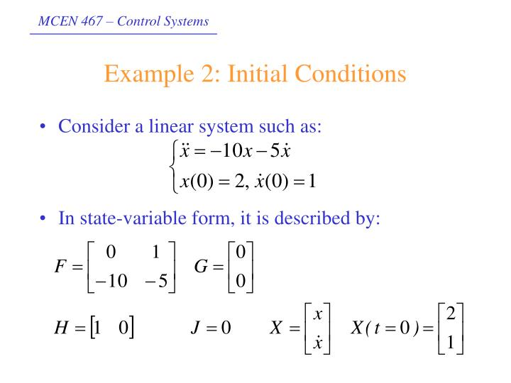 Example 2: Initial Conditions