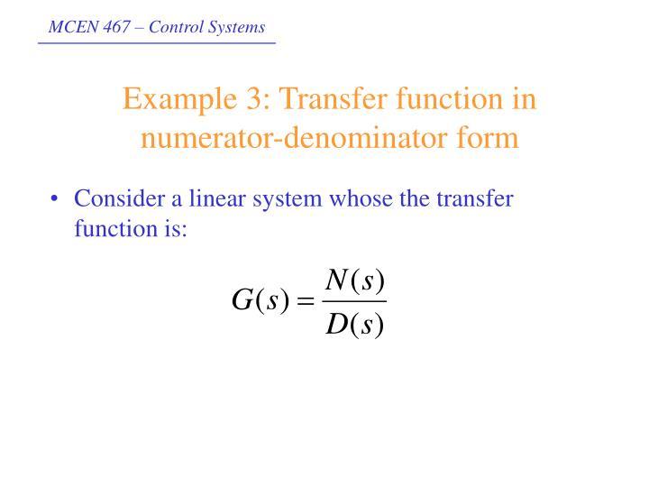 Example 3: Transfer function in numerator-denominator form