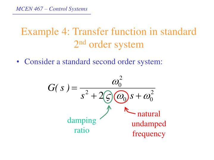 Example 4: Transfer function in standard 2