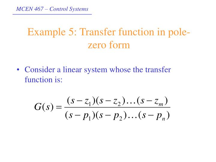 Example 5: Transfer function in pole-zero form