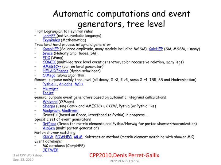 Automatic computations and event generators, tree level