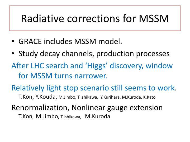 Radiative corrections for MSSM