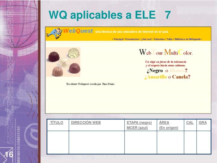 WQ aplicables a ELE   7