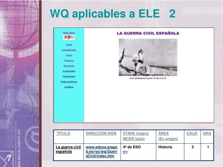WQ aplicables a ELE   2