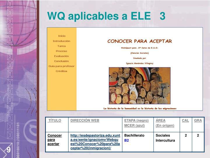 WQ aplicables a ELE   3